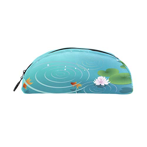 Pencil Case Holders Pond Water Goldfish Pen Stationery Pouch Bag with Zipper Makeup for Girls Boys -