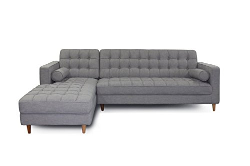Mid Century Modern Fabric Blend Charles Sectional Sofa, Left Arm Facing, Light Grey ✮ ✮ Comfortable Tufted Seats ✮ Very Minimal 10 Min Assembly - Screw on Wood Legs ✮ Satisfaction Guarantee