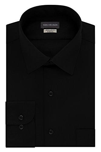 Van Heusen Men's Dress Shirts Regular Fit Lux Sateen Stretch Solid, Black, 18