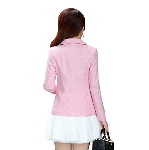 Rosa Blazer Moda Giacca Da Elegante Cappotto Business Bavero Manica Tailleur Slim Con Giacche Autunno Primaverile Solidi Donna Button Fit Colori Vintage Lunga 1q88d