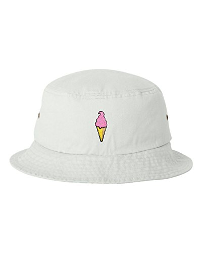 One Size White Adult Ice Cream Cone Embroidered Bucket Cap Dad Hat