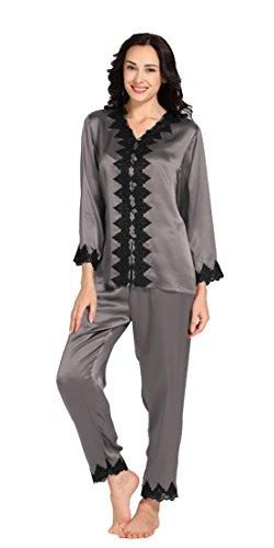 22 Momme Spitze Pyjamas Set Seide Tradition Still Damen (S, Dunkel Grau)