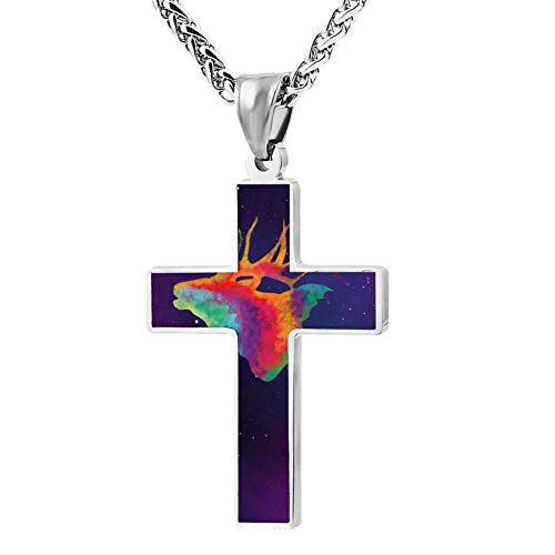 Elk Arches - Gjghsj2 Cross Necklace Colorful Elk Painting Cross Pendant Religious Jewelry Sets Cross Chain Chokers for Men Women