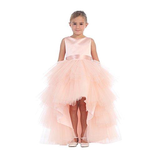 Big Girls Blush Satin Tutu Hi-Low Tape Sash Junior Bridesmaid Dress 8 (Tip Dresses Top Kids)
