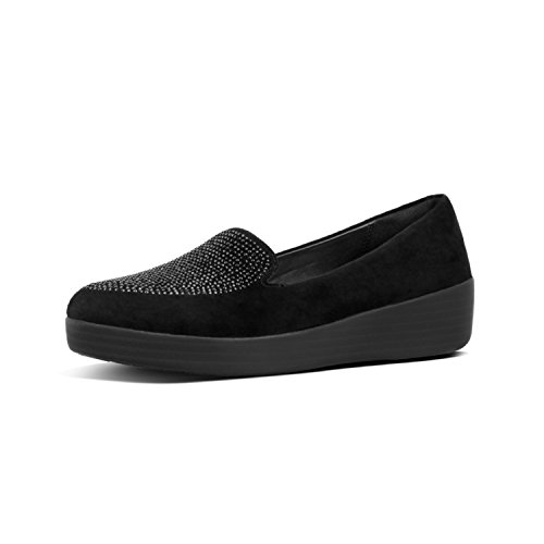 001 Noir FitFlop Femme Chaussons Bas TM Sparkly Black Sneakerloafer nWYwYqa8cf