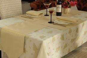 Gold Christmas Tree Design Table Linen Set For 8 Seater Tables (Contains Table  Runner,
