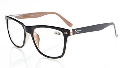 Eyekepper Readers Square Large Lenses Spring-Hinges Reading Glasses Men Women Black-Brown - Lens Glasses Large Reading