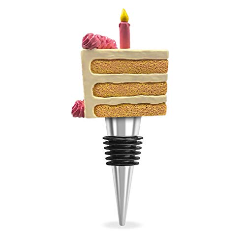 - Cake Slice Pink Candle Tapered Resin Stone and Zinc Wine Bottle Stopper