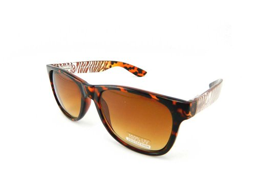 New Promotional Budget Wayfarer Retro Sunglasses - Clear with Leopard/Zebra Print (Brown, Bronze (Bronze Zebra Sunglasses)