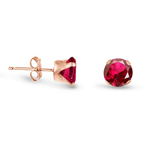 Campton Round Created Ruby Rose Gold Plated Sterling Silver Stud Earrings - Choose Size | Model ERRNGS - 14301 | 6mm - Large