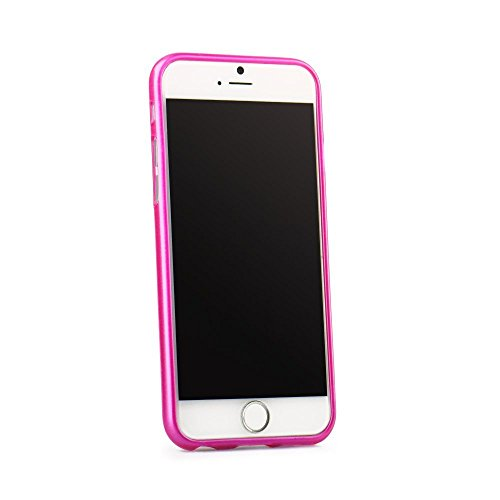 handy-point Aluminium gebürstet Optik Gummihülle Silikonhülle Gummi Silikon Schale Schutzschale Schutzhülle Hülle für iPhone SE 5 5S, Pink