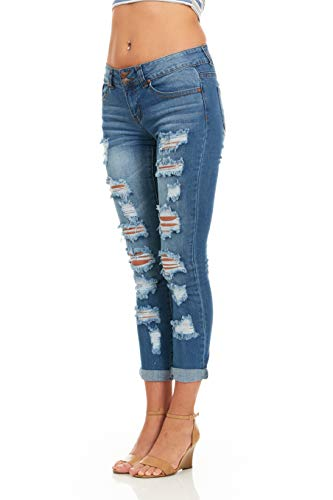 Cover Girl Skinny Ripped Jeans for Women Distressed Blue, Electric, 15 by Cover Girl (Image #2)'