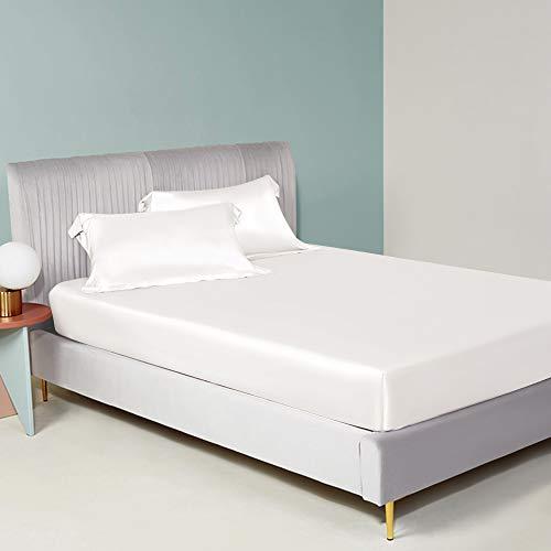 ElleSilk Silk Fitted Sheet, Silk Bed Sheets, 22 Momme, 100% Mulberry Silk,...