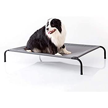Petsure Elevated Dog Bed - Medium Raised Dog Cot for Medium Dogs & Cats - Portable Indoor & Outdoor Pet Bed for Camping or Beach - Cooling Summer Frame with Breathable Mesh - Grey