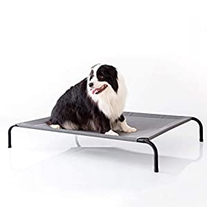 Petsure 35/43/49 inches Elevated Dog Bed Cot - Cooling Raised Dog Cots for Large Medium Small Dogs, Outdoor Pet Bed with Skid-Resistant Feet, Durable Frame, Breathable Mesh 1