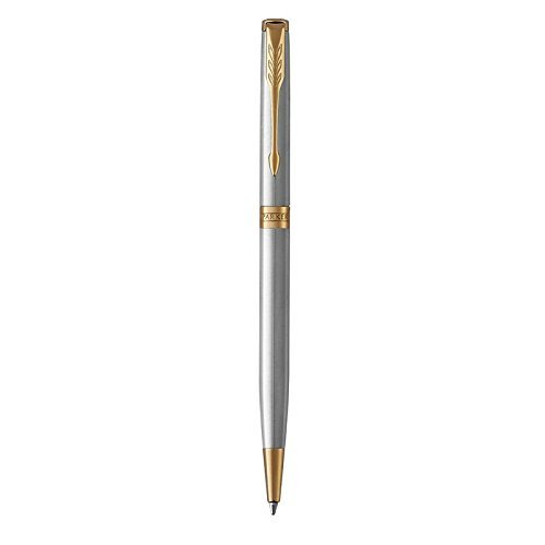 PARKER Sonnet Slim Ballpoint Pen, Stainless Steel with Gold Trim, Medium Point Black Ink (1931508)