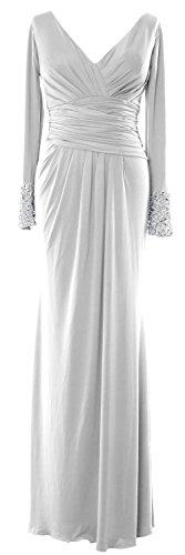 Jersey V Scollo Da Madre Maniche Lunghe In Macloth Abito Sposa Bianco Della Vestito A Sera Convenzionale HxYwRqI