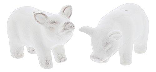 Drew DeRose Rustic Farm Pigs White Ceramic Salt & Pepper Shaker Set