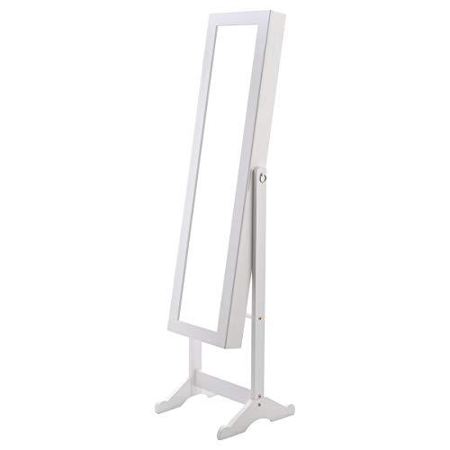 WATERJOY Jewelry Cabinet Lockable Free Standing with Mirror Jewellery Box Armoire Storage Organizer White ()