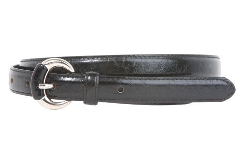 [3/4 Inch Semi-covered Stitching Feather Edged Skinny Belt Size: S/M - 32 Color: Black] (Round Covered Buckle Belt)