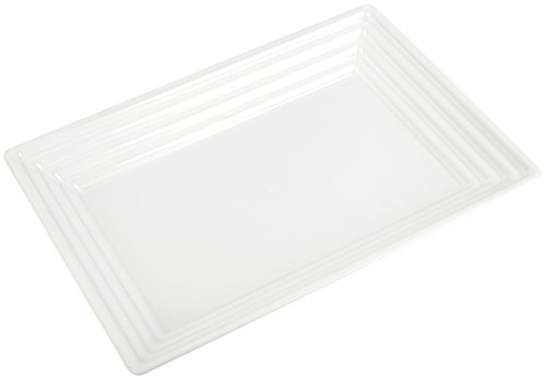 "Elegant Disposable Plastic Serving Trays – Heavyweight Fancy 9""x13"" Rectangular White Serving Platters - Reusable Party Appetizer Platter Set For Wedding, Thanksgiving, Birthday & Other Occasions"
