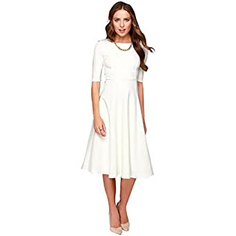 Dantiya Women's Half Sleeve Elegant Back Zipper A-Line