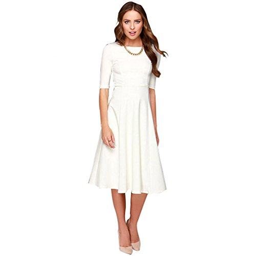 Dantiya Women's Half Sleeve Elegant Back Zipper A-Line Knee Long Dress, White, X-Small