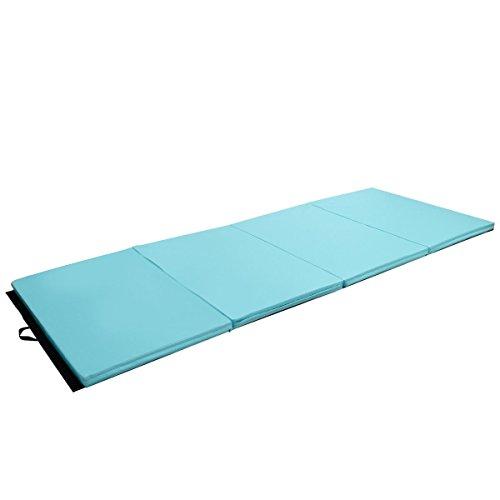 COSTWAY 4′ x 10′ x 2″ Thick Folding Panel Aerobics Exercise Gymnastics Mat – Blue