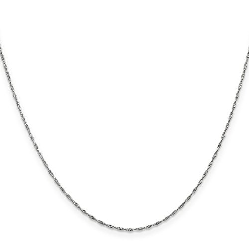 14k White Gold Singapore Pendant (14k White Gold 1mm Singapore Chain Necklace 30