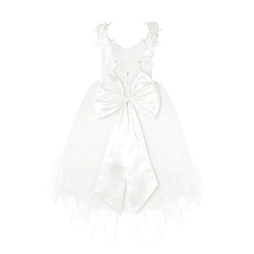 FEESHOW Girls Spaghetti Straps Lace Flower Communion Wedding Tulle Dress White 7-8