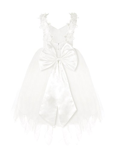 FEESHOW Girls' Spaghetti Straps Lace Flower Communion Wedding Tulle Dress White 3-4