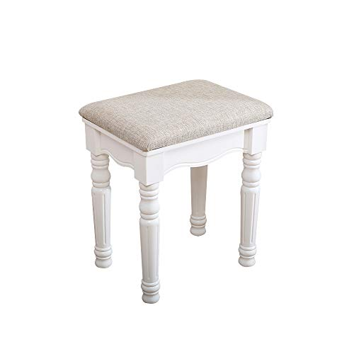 IWELL Vanity Stool,Makeup Bench Dressing Stool,Padded Cushioned Chair,Piano Seat,White