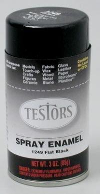 Flat Black Spray Testors Enamel Plastic Model Paint ()