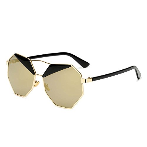 Color Geometric Metal Lens Frame Gafas LVZAIXI Oro Sol Azul Polarized Sunglasses Full de xv6HwAq