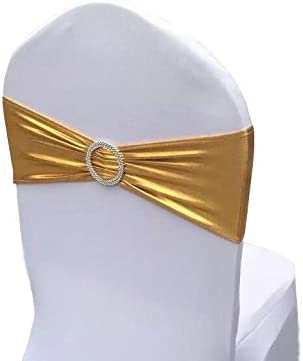 Chair Cover Stretch Band With Buckle Slider Sashes Bow Wedding Banquet Decoration 10PCS (Metallic Gold)