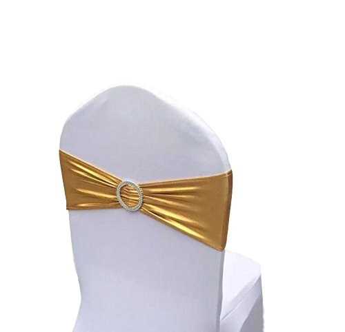 Chair Cover Stretch Band With Buckle Slider Sashes Bow Wedding Banquet Decoration 10PCS (Metallic Gold)]()