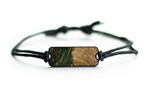 Carved Burl Wood + Resin Bracelet Dark Green ()