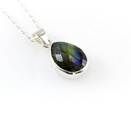 Sterling Silver Tiny Natural Faceted Labradorite Teardrop Throat Chakra Handmade Pendant 16'' Chain (Height: (Faceted Labradorite Pendant)