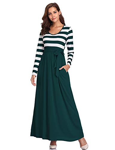CROSS1946 Womens Casual Striped Scoop Neck Long Sleeve Tie Waist Pockets Maxi Dress Green