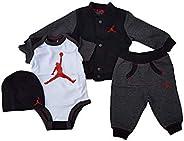NIKE Jordan Baby Boys' Jumpman 4 Piece Bodysuits, Jacket, Pants and Hat Set in Deluxe