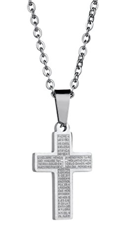 Price comparison product image Ailianer Cross Prayer Pendant Necklace The Lord's Pray Jesus Jewelry for Women Men Stainless Steel Silver Tone