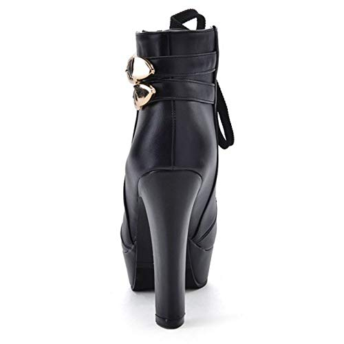 Noir Femmes Motardes Classique 1 Lacets Taoffen warm Bottes XO7Pnwz