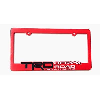 Xitek 3D Emblem SR5 TRD Off Road Racing Development License Plate Holder Frame Cover for Tundra Tacoma 4 Runner Land FJ Cruiser (1 Red): Automotive