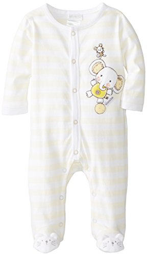 ABSORBA Unisex-Baby Newborn Uni Elephant Footie, Yellow/White, 0-3 Months
