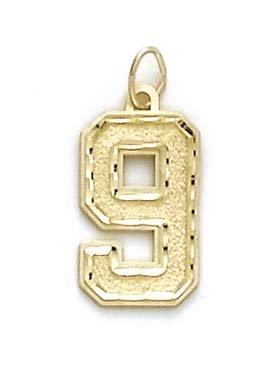 14Ct jewelryWeb pendentif en forme de chiffre 9