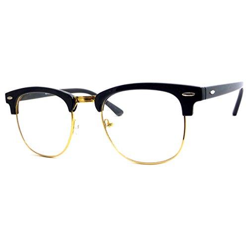 VINTAGE Inspired Classic Half Frame Clear Lens Glasses BLACK/ GOLD