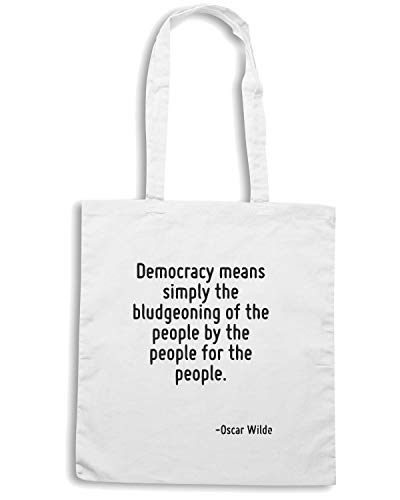 CIT0055 Borsa MEANS THE FOR THE Bianca PEOPLE SIMPLY PEOPLE BLUDGEONING OF PEOPLE THE Shopper THE DEMOCRACY BY Speed Shirt CwIqCR
