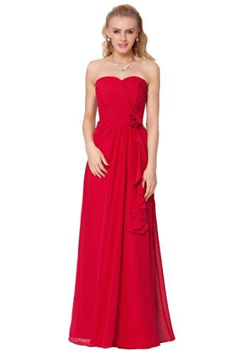 SEXYHER Gorgeous Encuadre de cuerpo entero sin tirantes de c¨®ctel damas de honor vestido de noche formal - EDJ1594 PomegranateRed