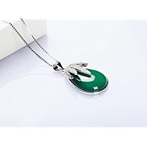 The Starry Night Drop Shape Leaf Diamond Accented Pendant Green Agate Chalcedony Silver Elegant Necklace