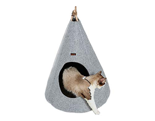 WhiteTail Naturals Cat Tent Teepee Cave Bed (Large) Portable Hideaway | Cats and Puppies | Soft Natural Felt | Plush Wool Rug | Grey Color |